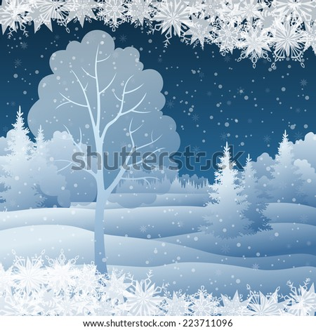 Winter Christmas holiday woodland night landscape with snow covered trees and snowflakes.
