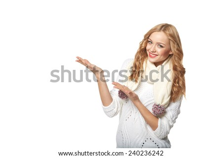 Winter, christmas, holidays advertising. Smiling beautiful open hand palm with copy space for product or text, over white background - stock photo