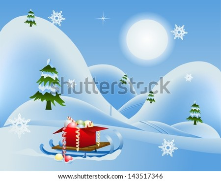 Winter Christmas landscape with mountains and gifts