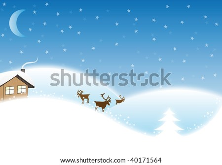 Winter / Christmas Landscape with reindeers and a small house