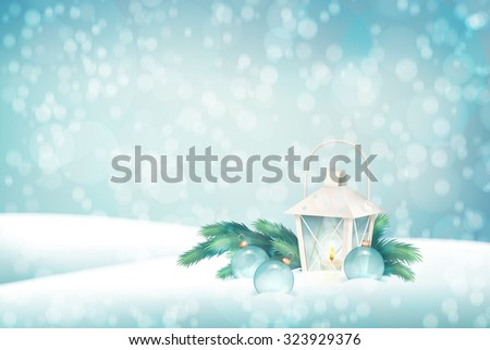 Winter Christmas Scene Background. Xmas landscape with fir tree branches, lantern, baubles