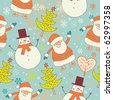 Winter Christmas seamless pattern with Santa and snowman - stock photo