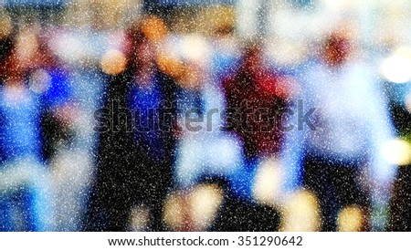 Winter city commuters with snow. Blurred image of workers going back home after work. Unrecognizable faces, bleached effect. - stock photo