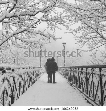 Winter city park. Lovers Bridge in Kiev. Ukraine. - stock photo