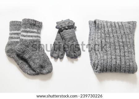 Winter clothes and accessories - stock photo