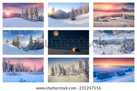 Winter collage with 9 different Christmas landscapes. - stock photo