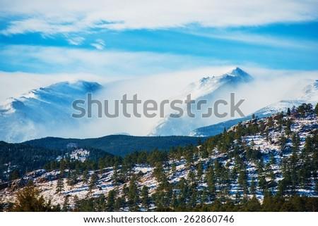 Winter Colorado Rockies. Colorado Rocky Mountains in Winter. - stock photo
