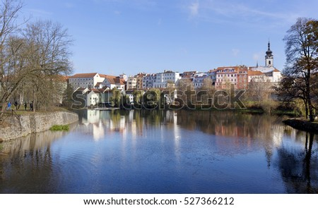 Winter colorful royal medieval Town Pisek above the river Otava, Czech Republic