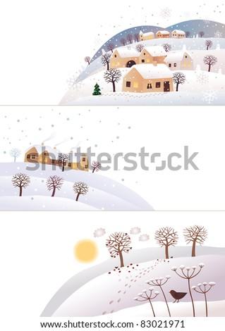 Winter corners Raster image. - stock photo