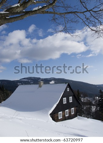 winter cottage - stock photo