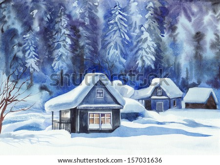 Winter cottages against the pine forest in snow