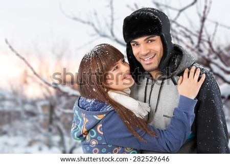 Winter, Couple, Snow.