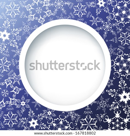 Winter creative background with ornate snowflakes. Winter frame. Blue background with white ornate snowflakes. New Year and Christmas celebratory card with place for text. Raster version - stock photo