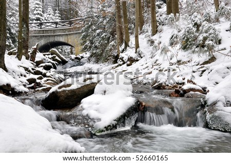 winter creek in the national park Sumava - Czech Republic - stock photo