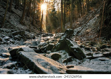 winter creek in  the valley in the  parkland in February  - stock photo