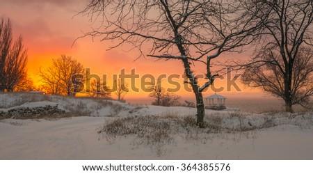 Winter dawn in the Kerch Bay - stock photo