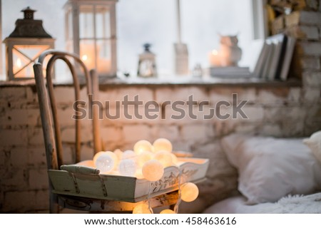 winter decor with candles and garland