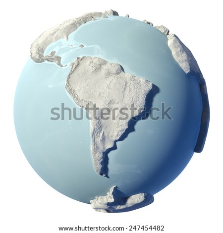 Winter earth isolated on white background. 3d render. Continent South America. Elements of this image furnished by NASA - stock photo