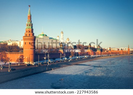 Winter evening in Moscow, Russia (The Grand Kremlin Palace and Kremlin wall) - stock photo