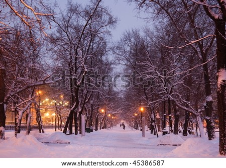 Winter evening in one of Moscow boulevards. Russia. - stock photo