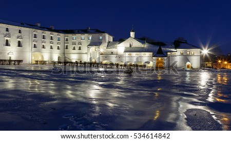 Winter evening in the ancient Russian city. The Bishop's chambers. The architectural ensemble of Suzdal Kremlin is included in the list of world heritage of UNESCO.