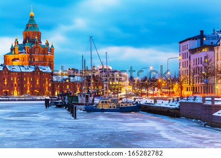Winter evening scenery of the Old Town pier architecture in Helsinki, Finland - stock photo