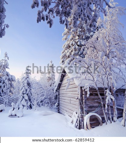 Winter fairy snow forest with pine trees and house at sunset. Finland - stock photo