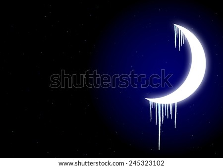 Winter fairy-tale - icicles on moon in the night sky - stock photo