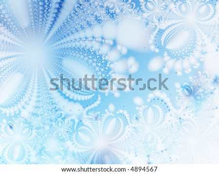 Winter fantasy. Abstract ice-flowers