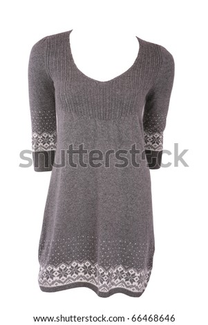 Winter female tunic with snowflakes isolated on white - stock photo