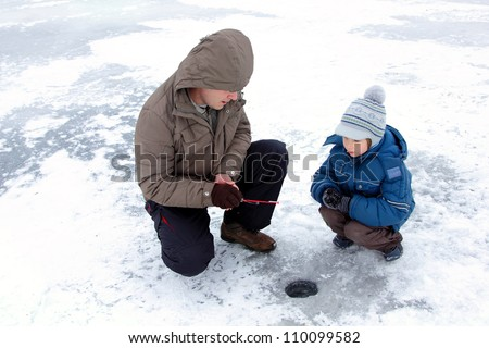 winter fishing family leisure outdoor