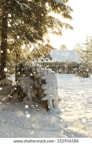 Winter forest. Firewood stacked in a pile under spruce. Snowfall. From the pipe of an old house is smoke. Frosty. Christmas day. Copy space. Winter background. - stock photo