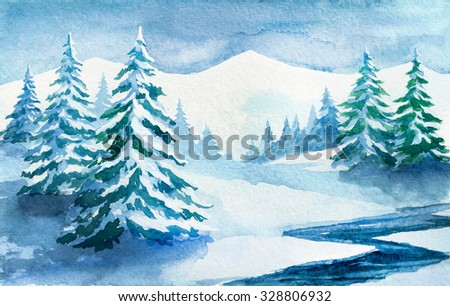 Winter forest. Watercolor illustration. - stock photo