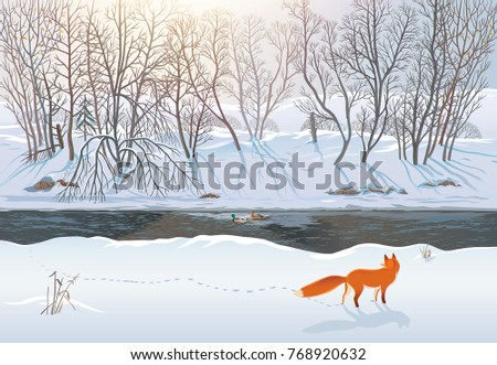Winter forest with a fox that tries to hunt two ducks in the river. Raster illustration.