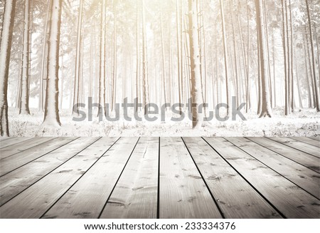 winter forest with trees covered snow with wood planks floor - stock photo