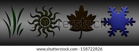 Winter. Four seasons concept with illuminated symbols - stock photo