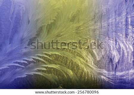 Winter frost-work on window glass useful as texture background  - stock photo