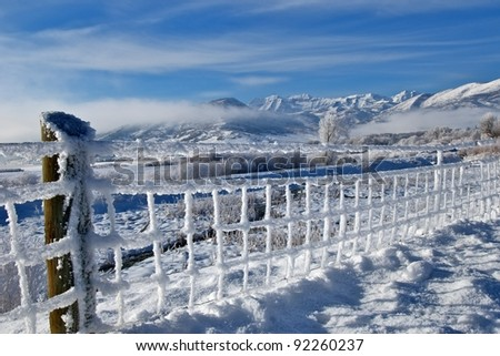 Winter frosted landscape, Wasatch Mountains Utah - stock photo
