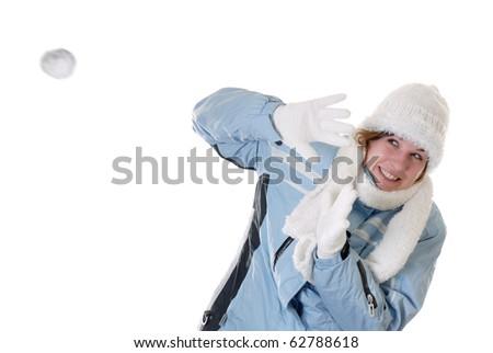 Winter fun: snowball battle - stock photo