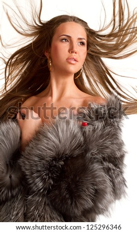Winter Girl in Luxury Fur Coat - stock photo