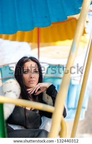 Winter Girl in Luxury Fur Coat. Fashion Fur - stock photo