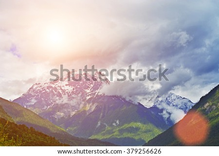 winter glacier mountain - stock photo