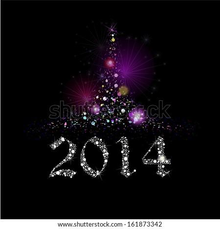 Winter greeting card 2014. Christmas tree. Raster - stock photo