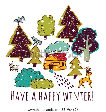 Winter greeting color card with sign and snow. Placard with trees, animals, snow and sign hello winter. Color illustration.  - stock photo