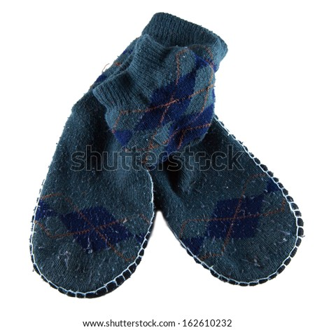 Winter grey socks with non-slip soles isolated over white - stock photo