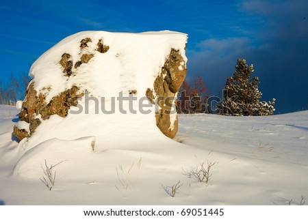 Winter has arrived: snow covered wilderness landscape - stock photo