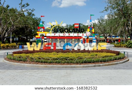 WINTER HAVEN, FL -Â?Â? OCTOBER 16: The main entrance to Legoland Florida on October 16, 2013. Legoland Florida is a theme park based on the popular LEGO brand of building toys. - stock photo