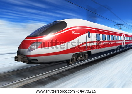 Winter high speed train - stock photo