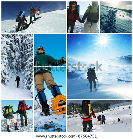 winter hike collage - stock photo