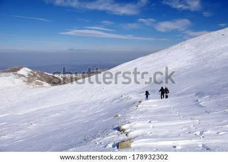 Winter hiking in the Mountain in sunny day, Bulgaria
